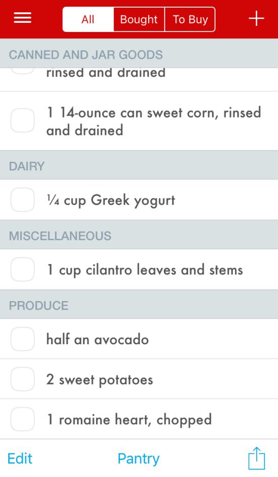 Paprika Grocery List