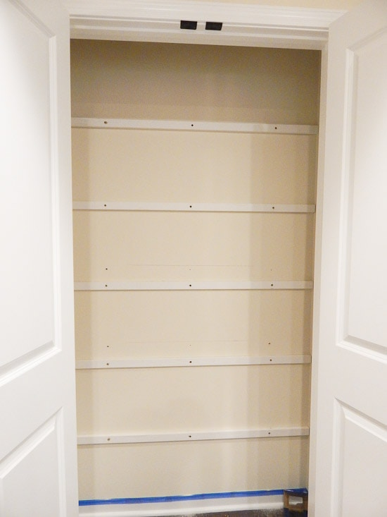 Pantry with Shelf Supports Installed
