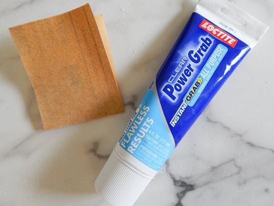 Sandpaper and Loctite Adhesive