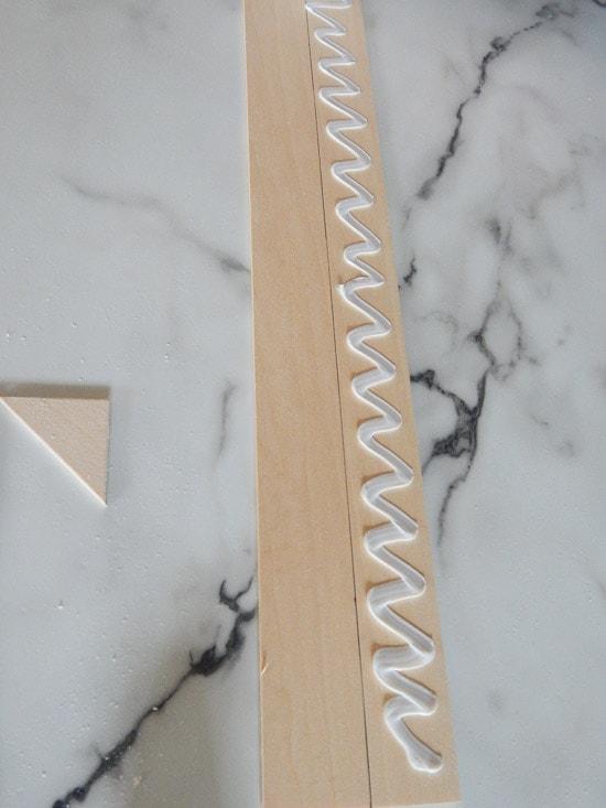 Glueing DIY Herringbone Sign
