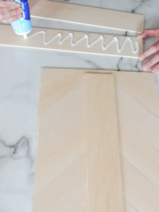 Glueing DIY Herringbone Sign