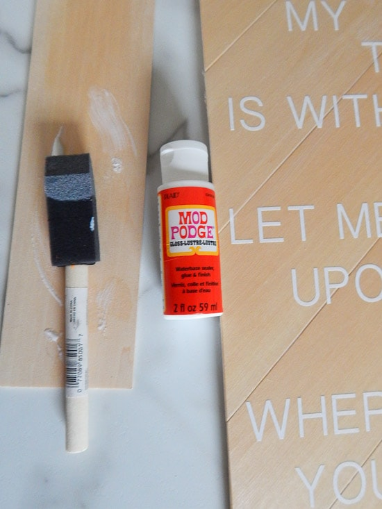 DIY Herringbone Sign White Vinyl Mod Podge