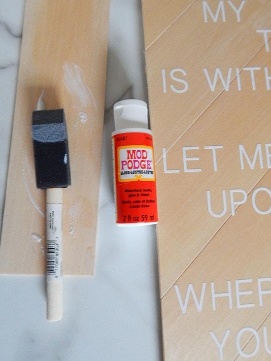 DIY Herringbone Sign White Vinyl Mod Podge