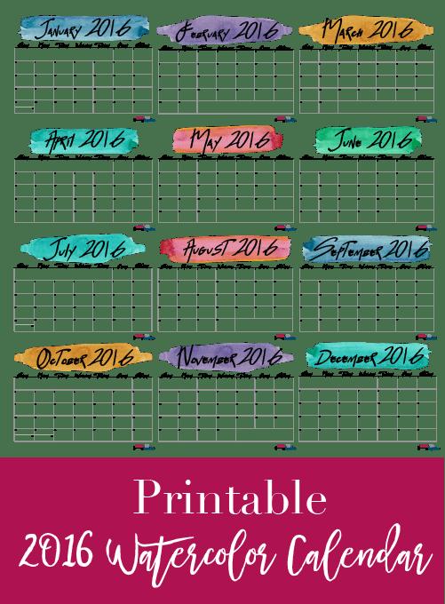 Printable 2016 Watercolor Calendar-01
