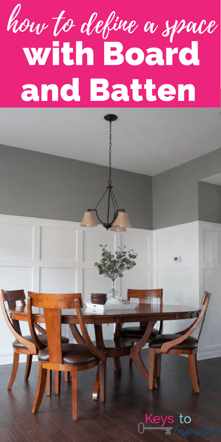 How to define a space with board and batten. A full tutorial for a budget friendly board and batten wall. This completely transformed the look of this dining room.