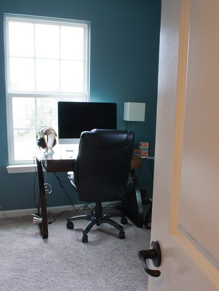 "Check out the progress on this cool industrial masculine home office. I LOVE the ""Shave the Whales"" pillow!!"