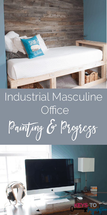"""Check out the progress on this cool industrial masculine home office. I LOVE the """"Shave the Whales"""" pillow!!"""