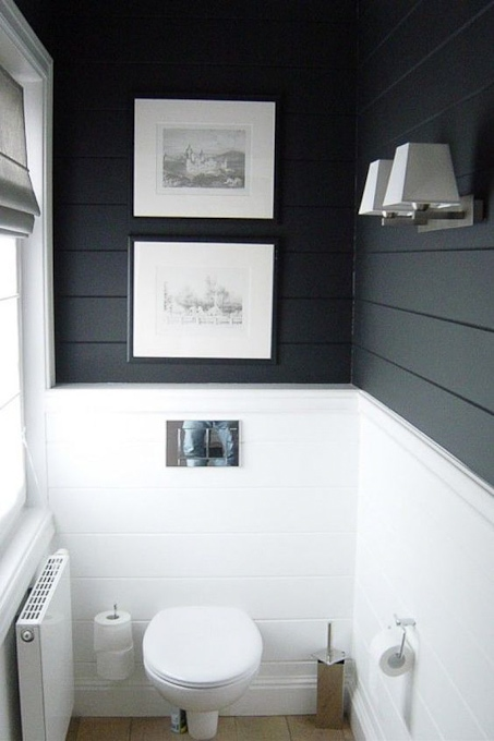 modern black and white bathroom with shiplap