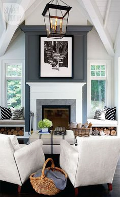 living room with contrasting fireplace wall