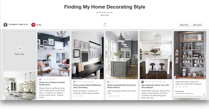 Finding my home decorating style pinterest board