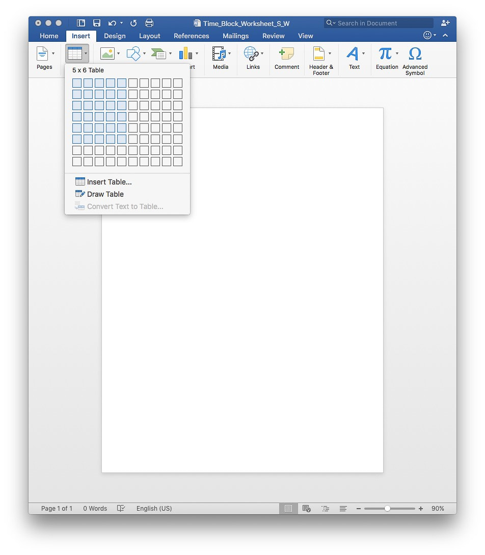 Great tutorial for making your own time block worksheets in Microsoft Word. Great for time management!