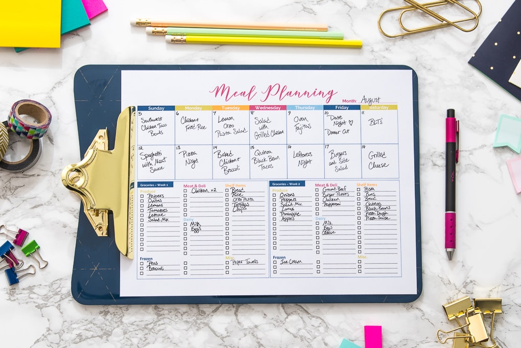 meal planning printable with text on the paper