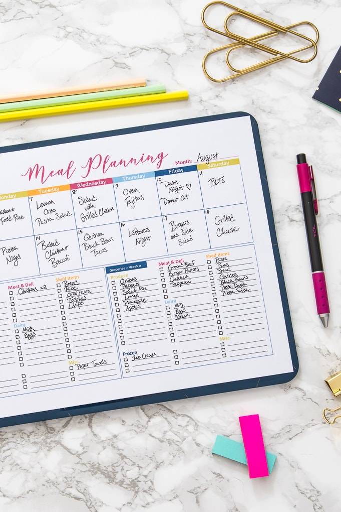 meal planning printable with text on a desk