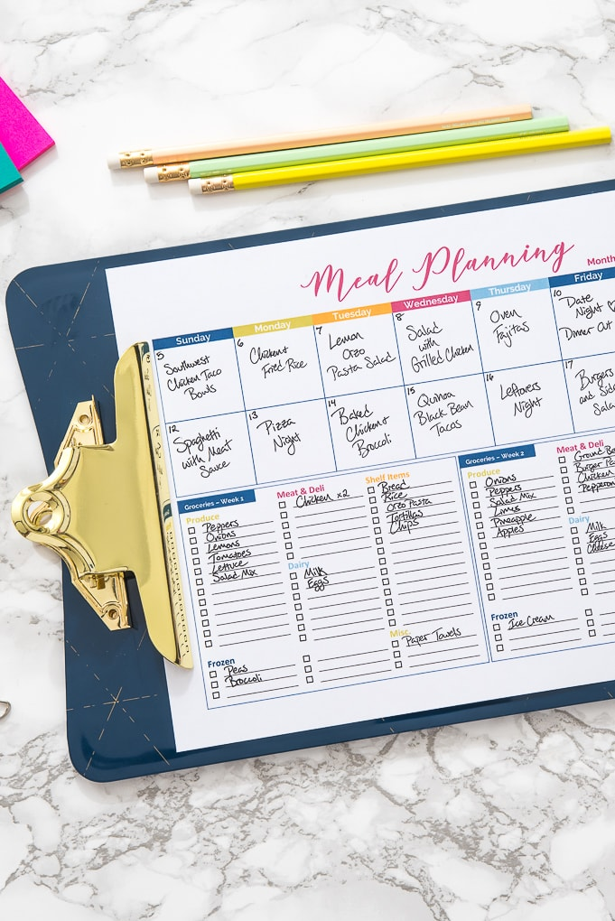 close up of meal planning printable