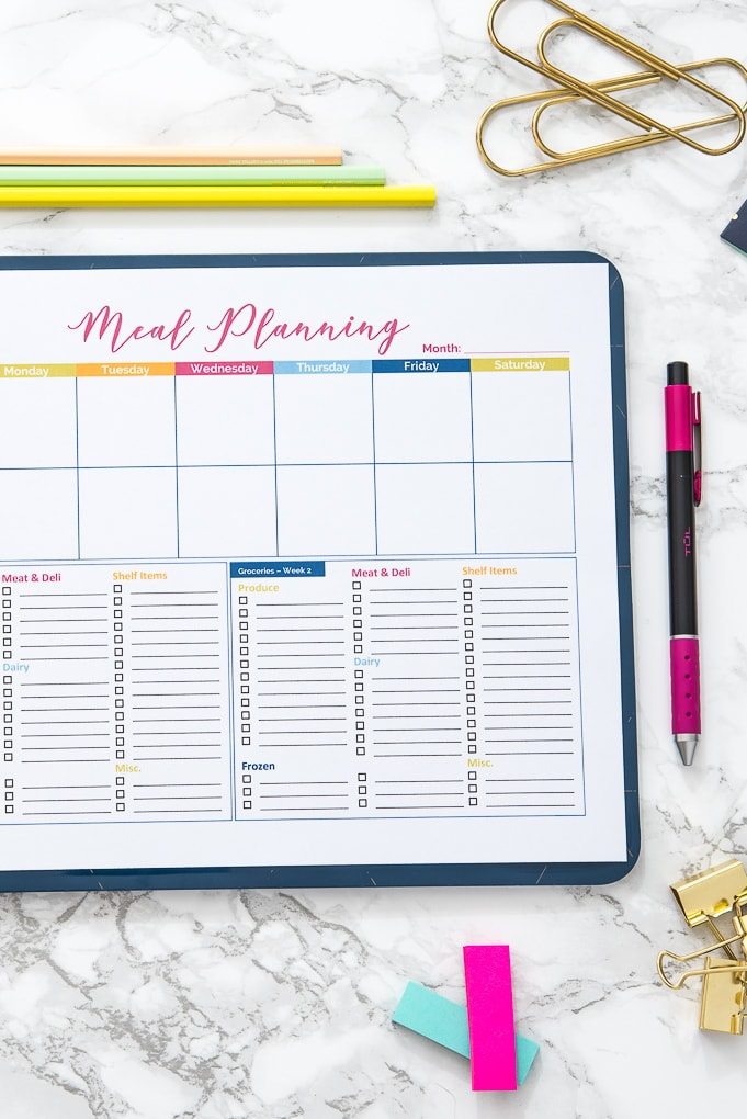 close up of a blank colorful printable meal planner