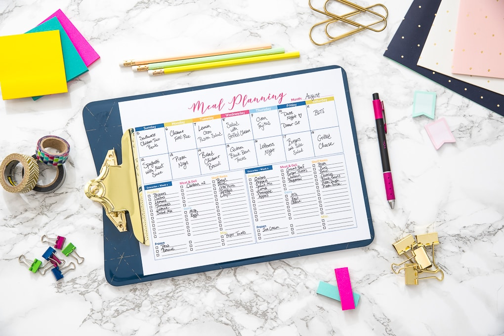 printable colorful meal planner