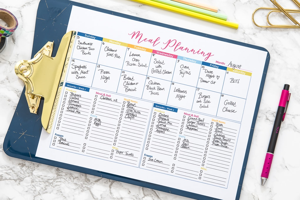 printable colorful meal planner with text