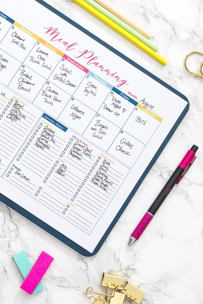 close up of colorful printable meal planner