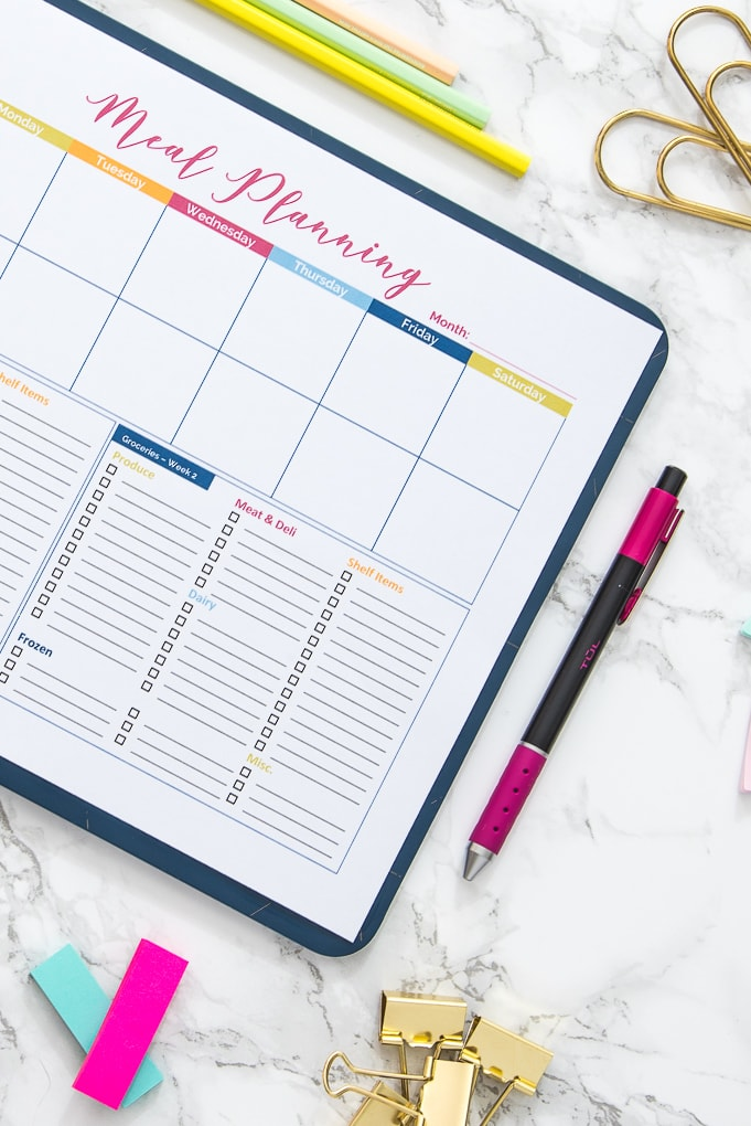 close up of a meal planning printable