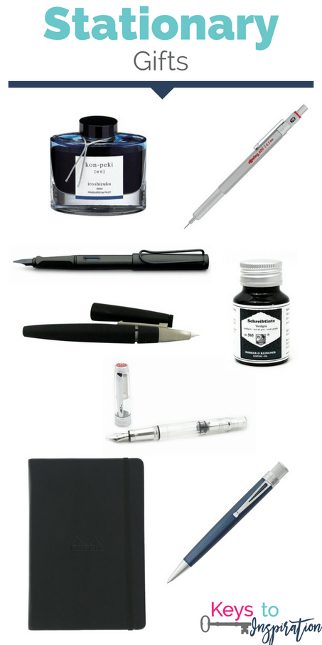 Stationary gift ideas. Great gifts for anyone who loves to write and loves pens! Pretty inks and luxury pens. These would make great Christmas gifts!