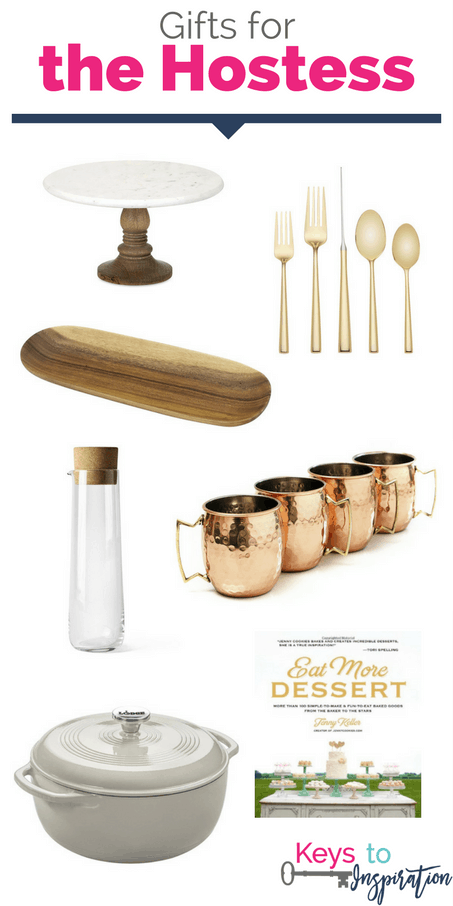 Gift ideas for the hostess. Pretty gold gifts for someone who loves to entertain. These would make great Christmas gifts!