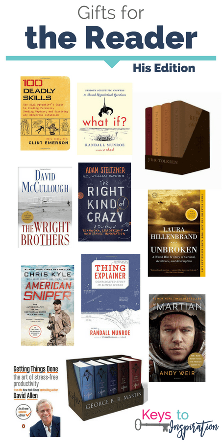 Gift ideas for reader - his edition. Great book gifts for men. These would make great Christmas gifts!