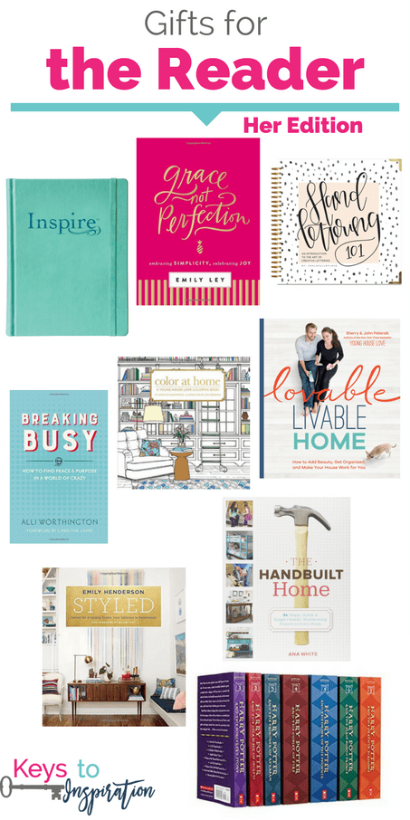 Gift ideas for reader - her edition. Great book gifts for women. These would make great Christmas gifts!