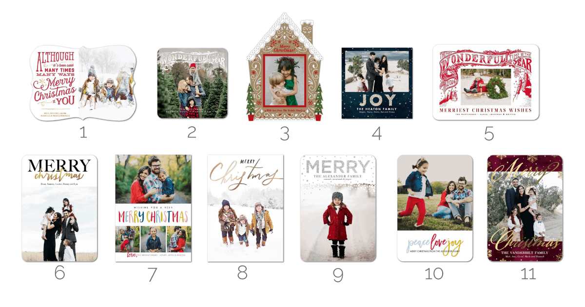 Pretty photo Christmas cards designs - great roundup from Tiny Prints!