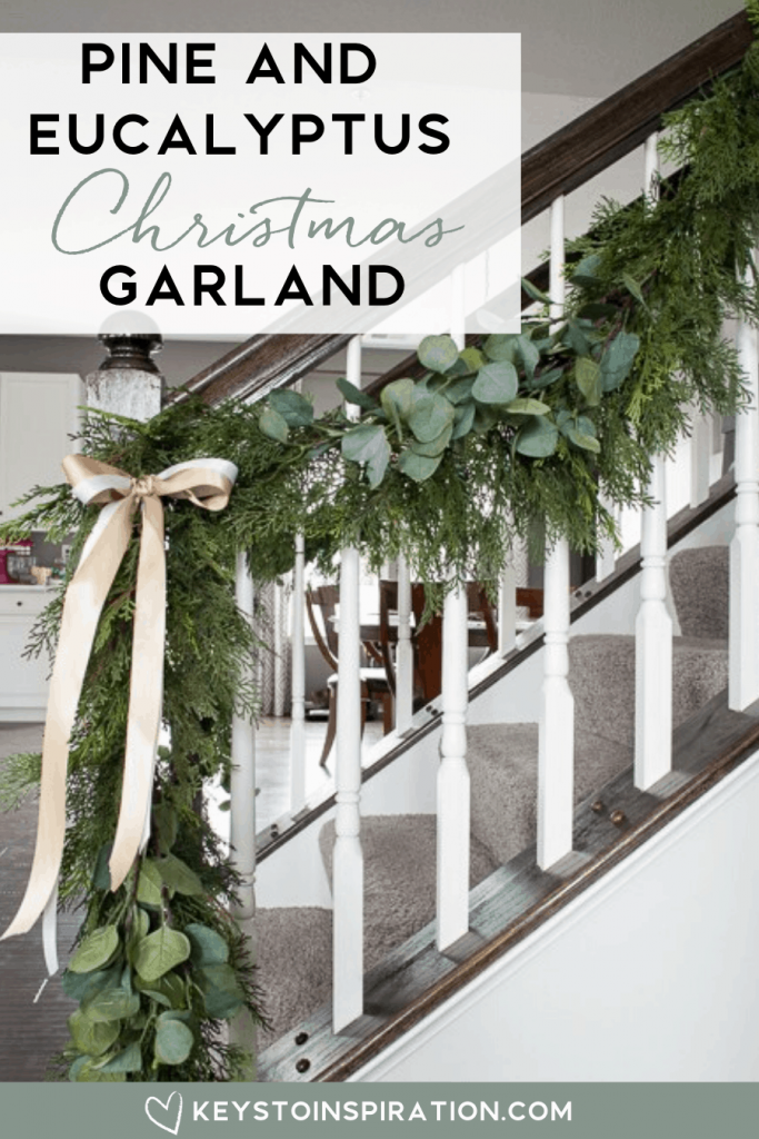 pine and eucalyptus Christmas garland on staircase