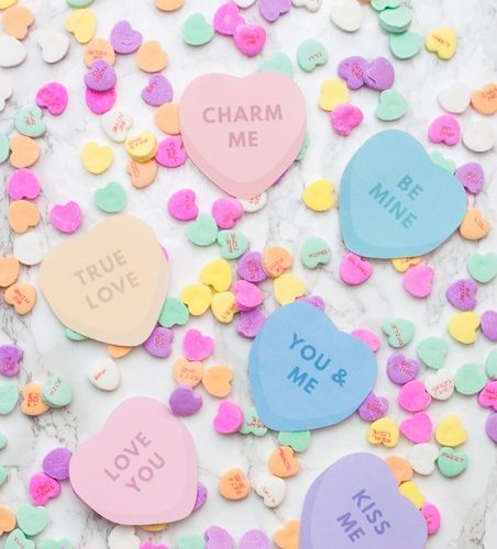 """Easy Cricut Explore tutorial for """"print then cut"""" conversation heart valentines! These are adorable and perfect for kids valentines!"""