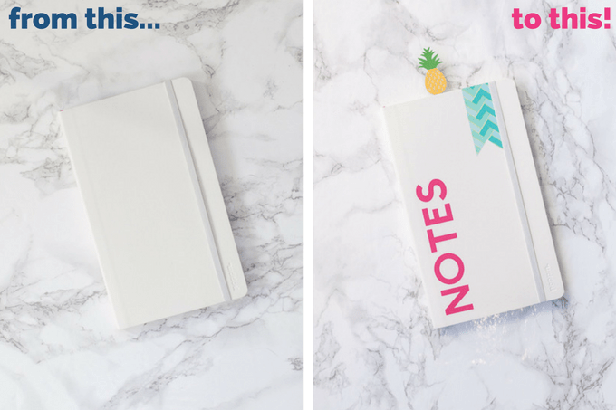 How to make custom notebooks using the Cricut Explore. Learn how to use Cricut Design Space to make these fun notebooks with vinyl, washi, and cardstock!