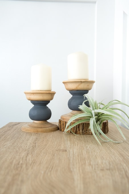 DIY Home Decor Project. Make these modern color block pillar candle holders. A quick and easy craft project!