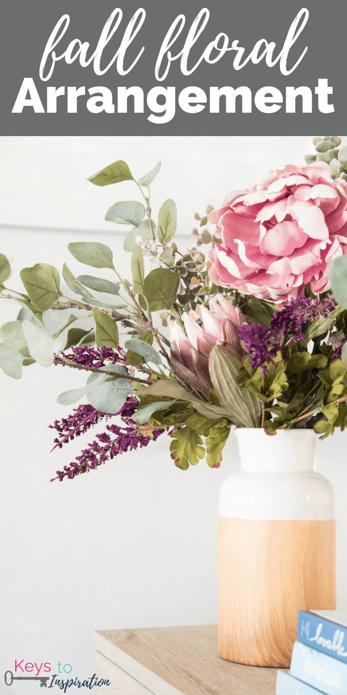 How to create a gorgeous fall floral arrangement. Beautiful jewel tone fall colors. Textured greens mixed with whimsical florals.