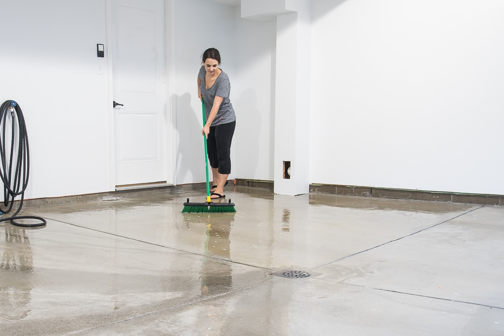 How to refinish a garage floor with Rust-Oleum EpoxyShield. A full tutorial for creating a clean, finished, and professional looking garage floor.