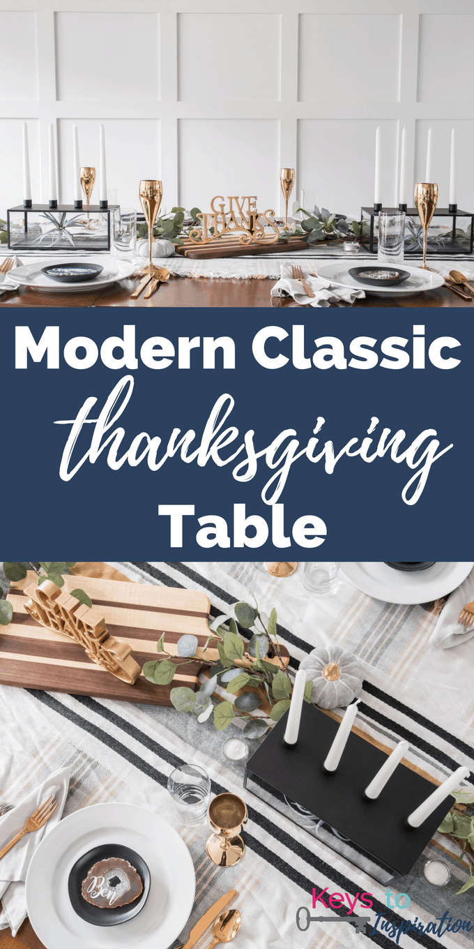Create a beautiful and sophisticated modern classic Thanksgiving table. Bring in the colors, textures, and patterns of fall using simple and neutral pieces. Use agate slices for a unique place card idea.