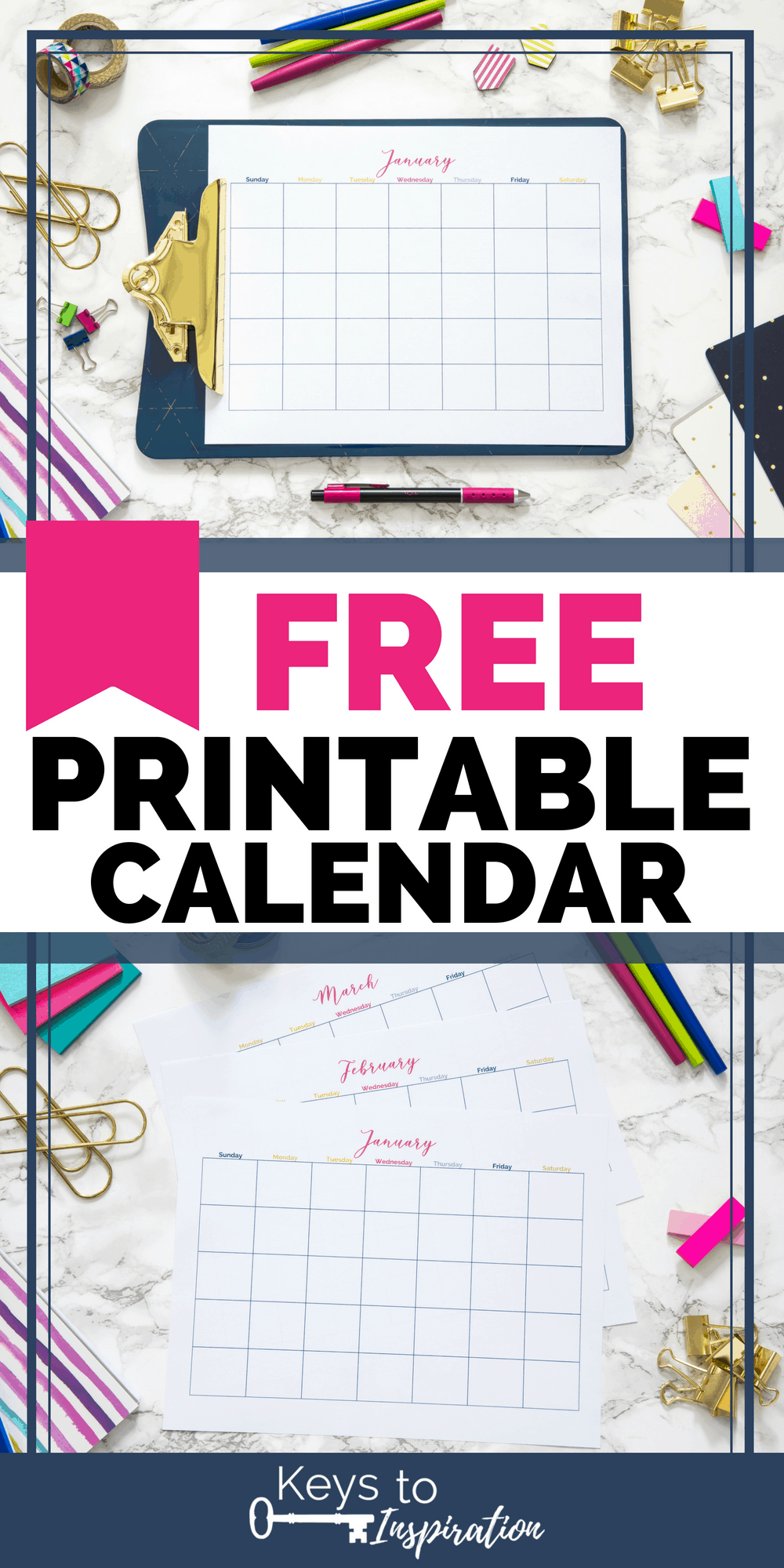 printable calendar on a desk and on a clipboard