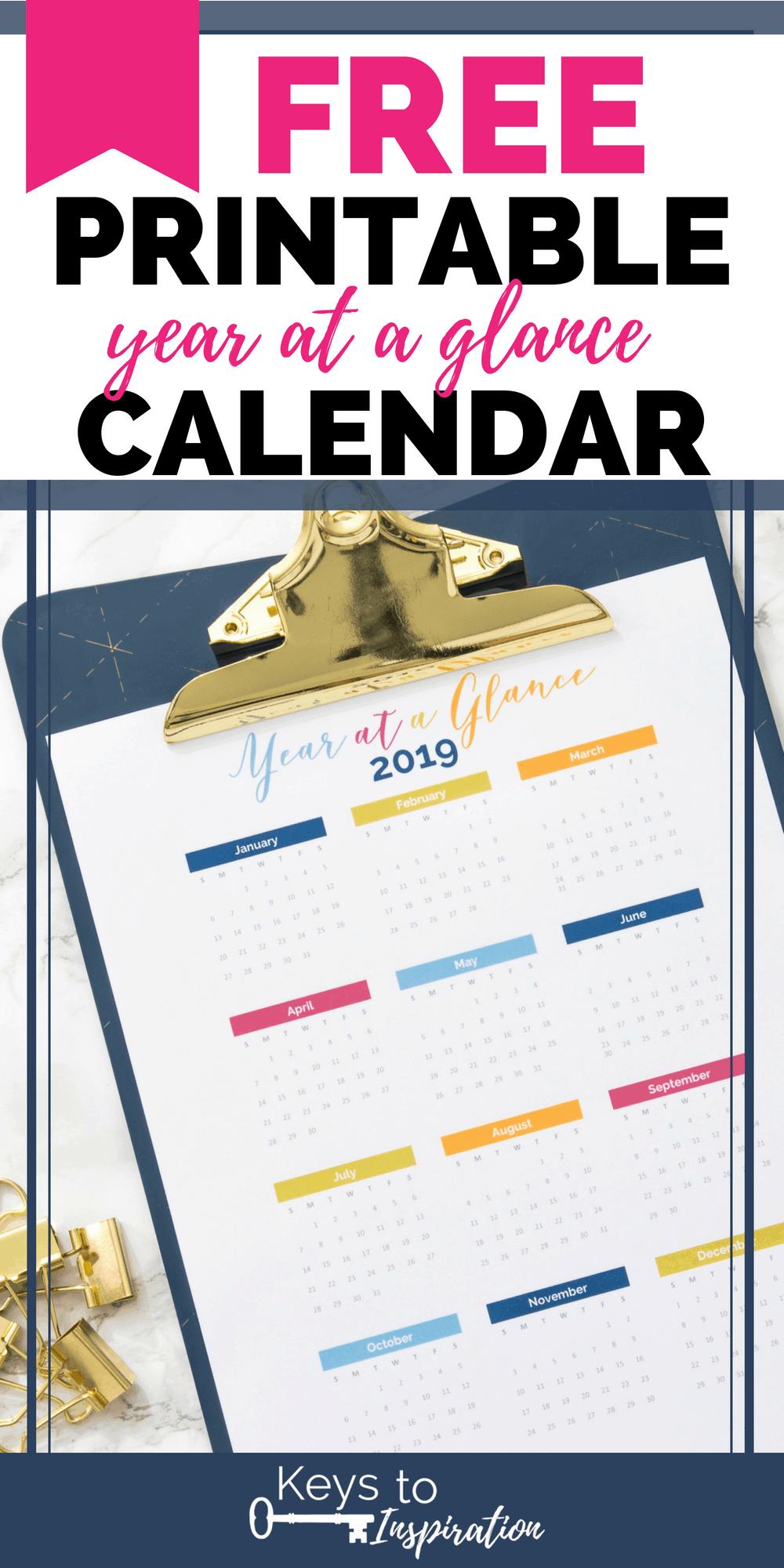 2019 year at a glance calendar on a clipboard