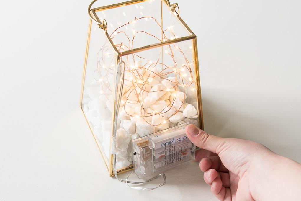 gold terrarium lantern with fairy lights battery pack