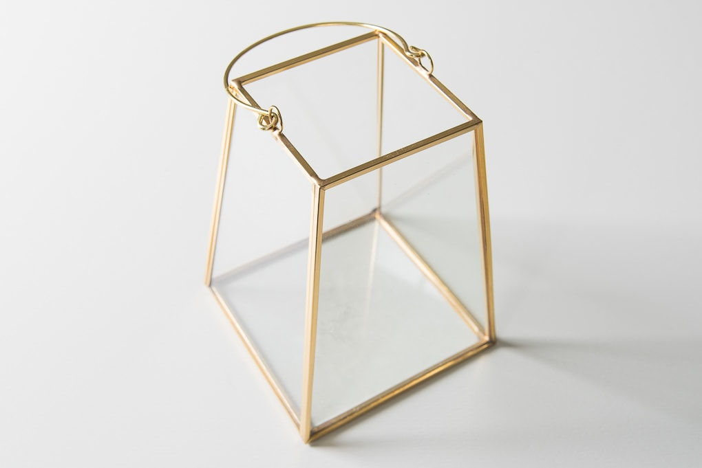 gold lantern terrarium empty