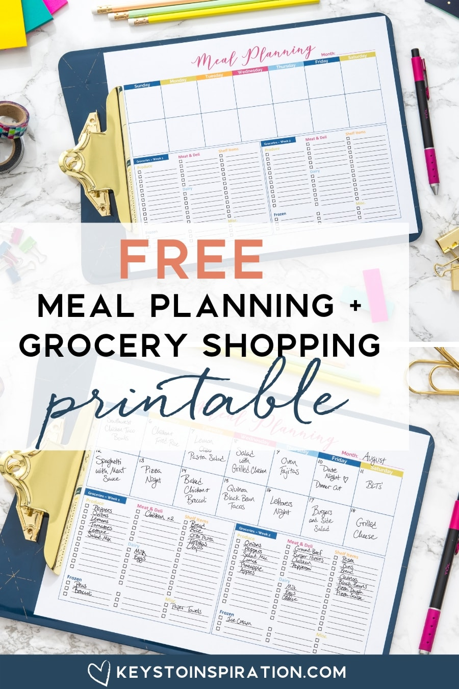 free meal planning and grocery shopping printable download on a clipboard