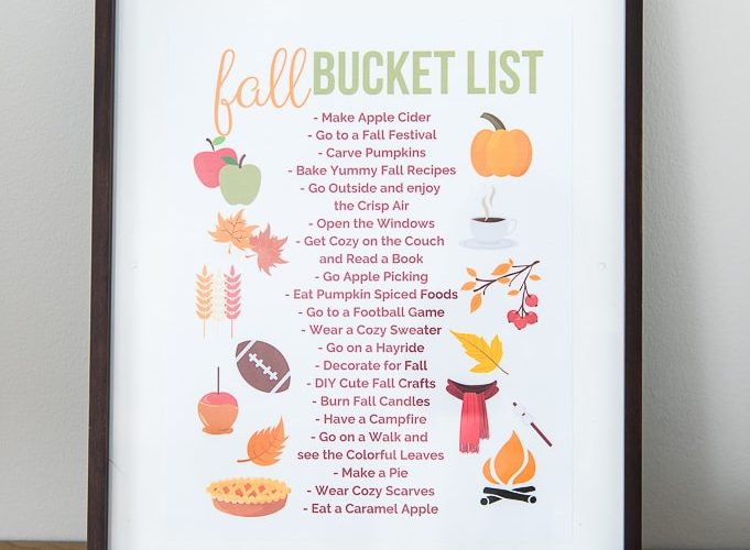 fall bucket list printable in a frame with a pumpkin