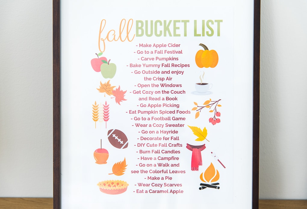 close up of fall bucket list printable in a frame