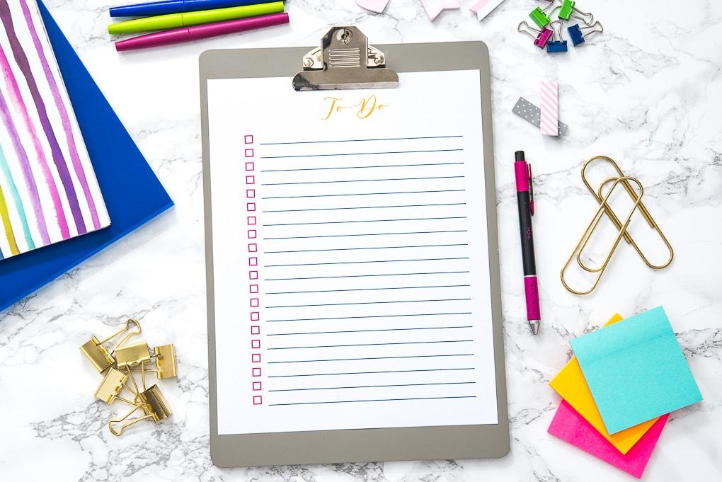 blank to-do list printable on a clipboard