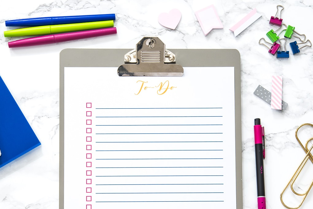 blank to-do list printable on a clipboard with office supplies