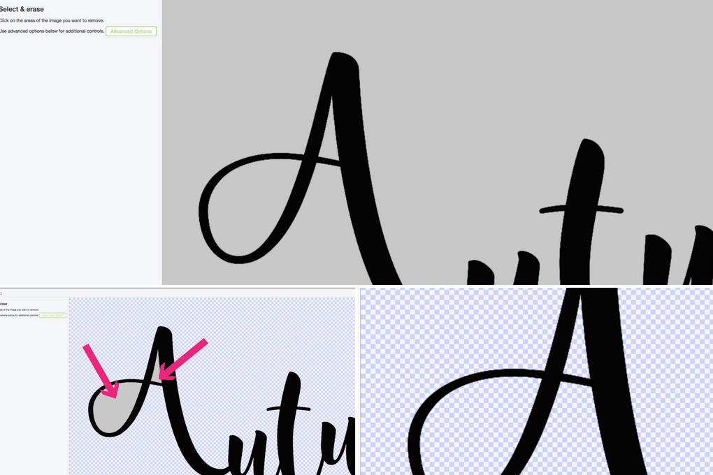 closeup of Cricut Design Space removing background