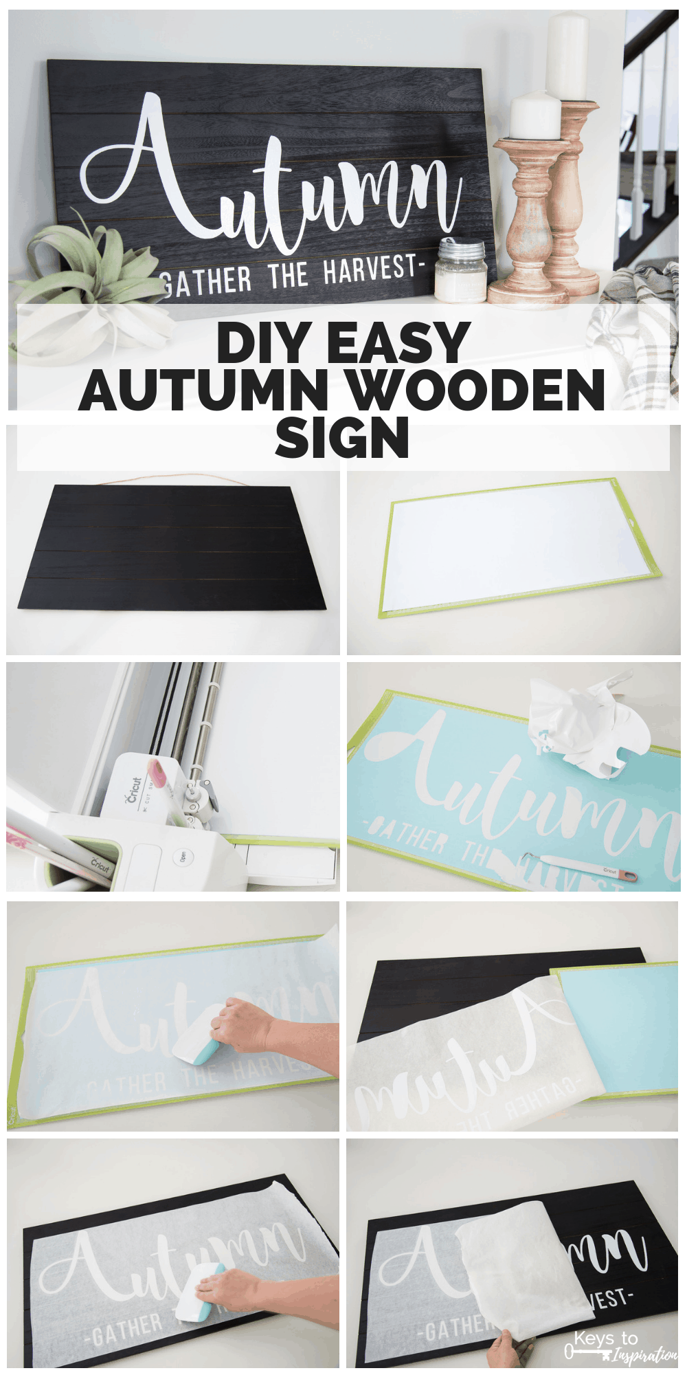 Step by step collage for making a DIY Autumn Wooden Sign using the Cricut Explore