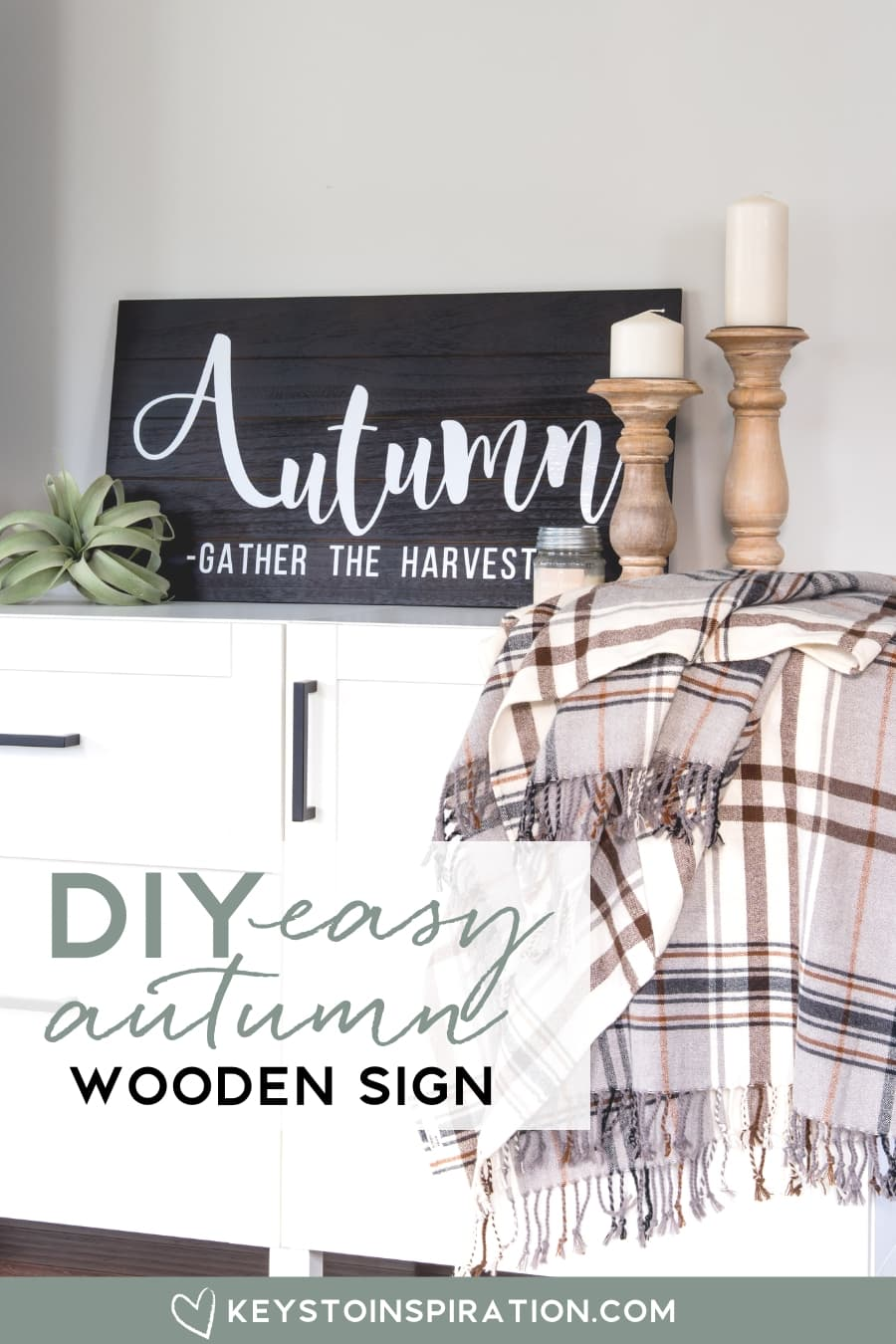 DIY easy autumn wooden sign home decor for fall