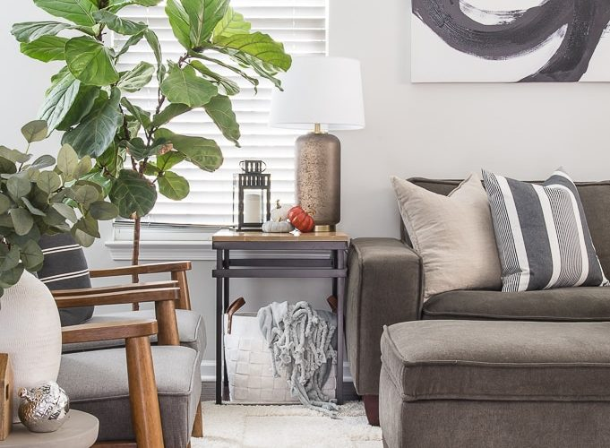 fall living room end table and chairs with decorations