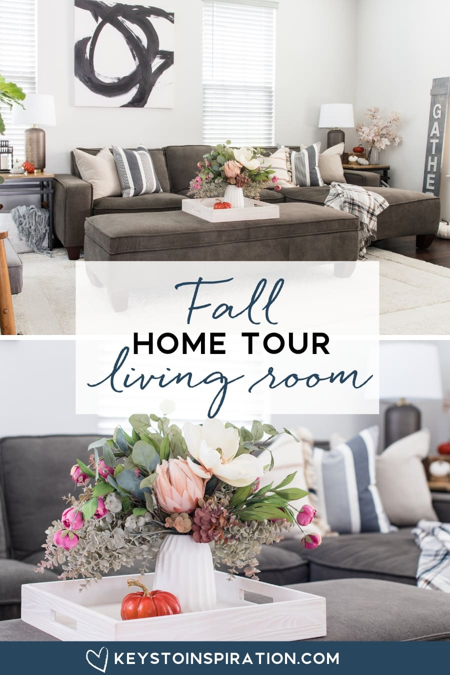 fall home tour living room modern home with autumn accents