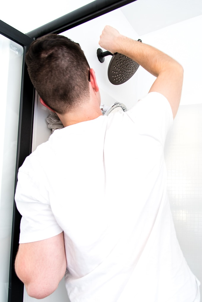installing a new shower head Moen Velocity Shower Head